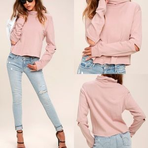 Blush Pink Cropped Turtleneck Sweatshirt